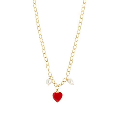 Gold Red Heart Pearl Necklace