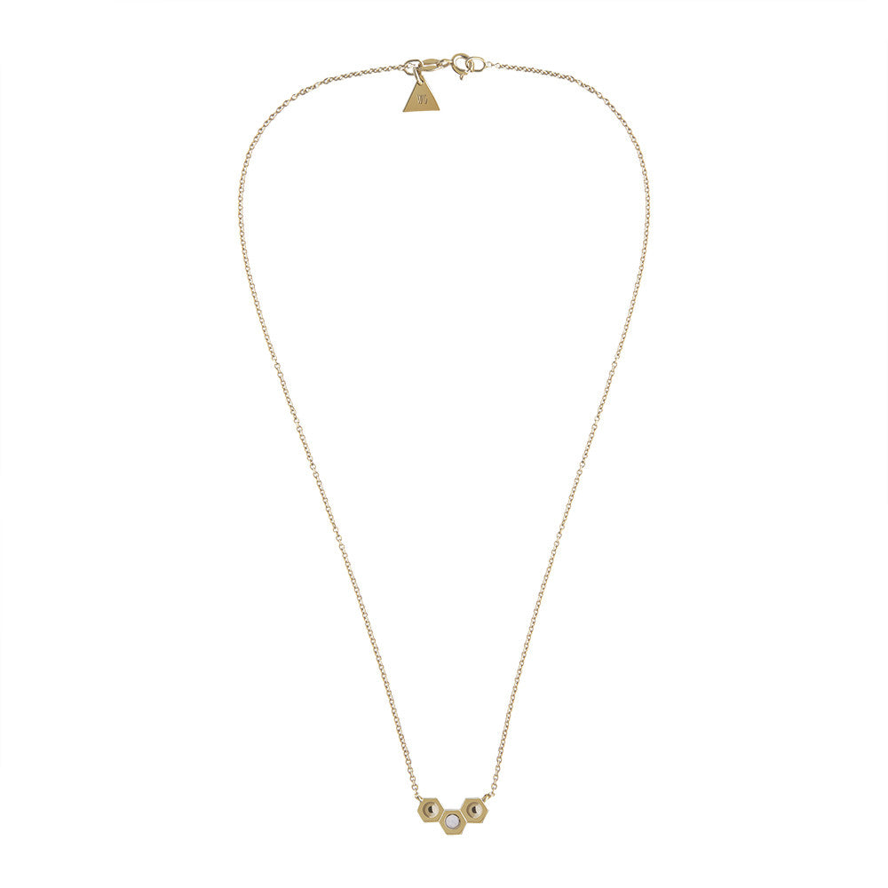 Gold tri nut necklace - opal stone