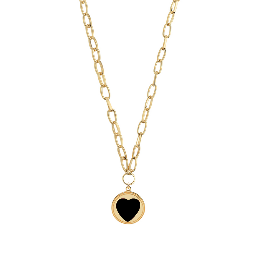 Gold Black Heart Necklace