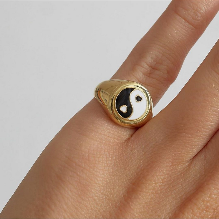 Gold Black Yin Yang Ring