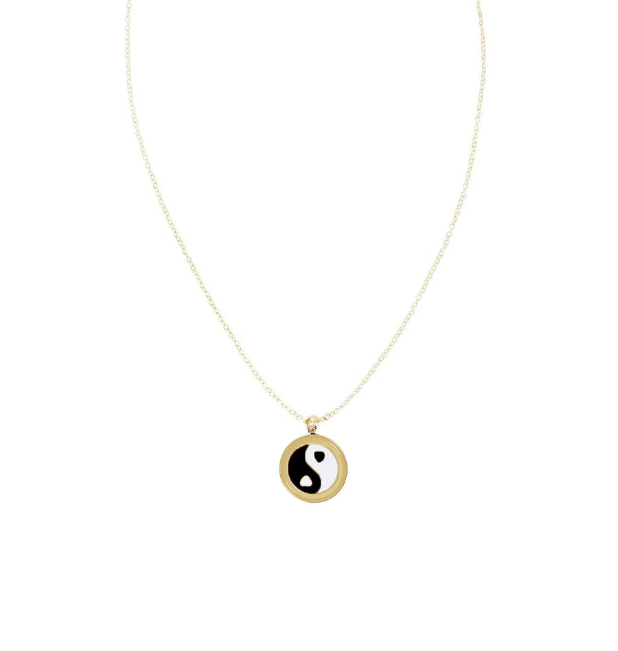 Gold Yin Yang Skinny Chain Necklace