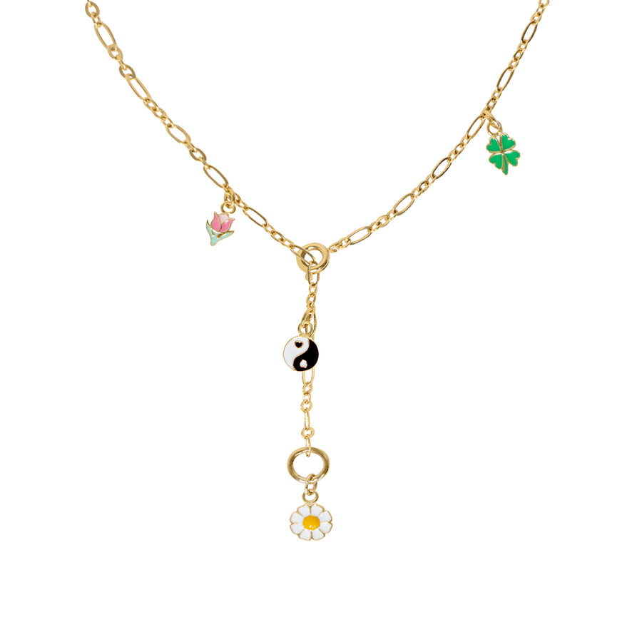 Gold 4 charm necklace - Wilhelmina Garcia