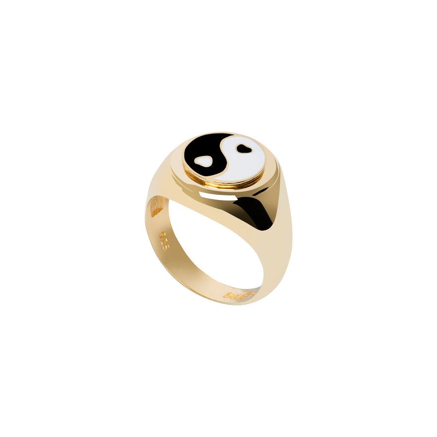 Gold YinYang Black Ring - Wilhelmina Garcia