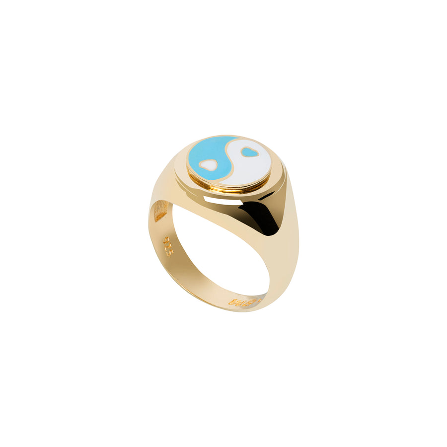 Gold YinYang Blue Ring - Wilhelmina Garcia