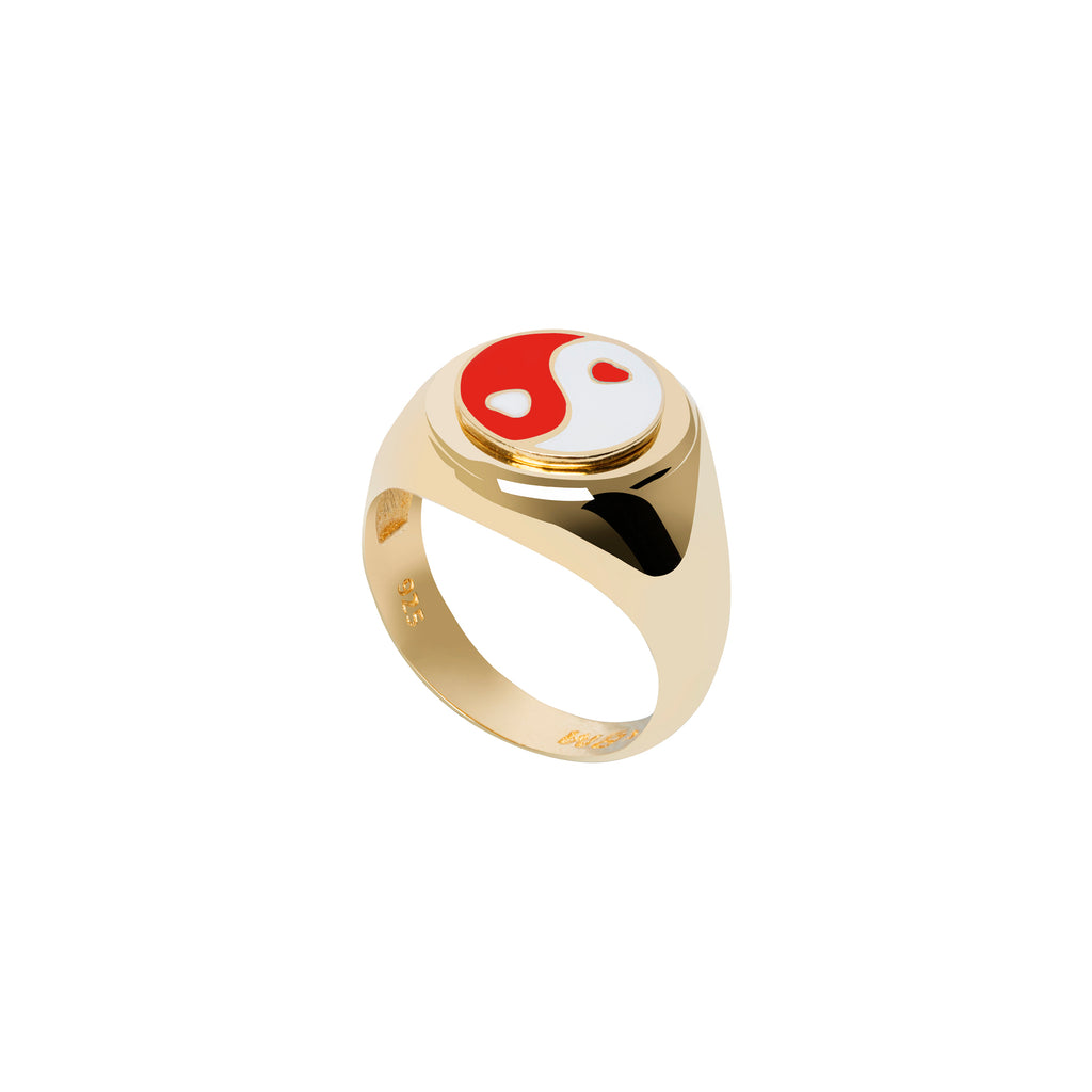 Gold YinYang Red Ring - Wilhelmina Garcia