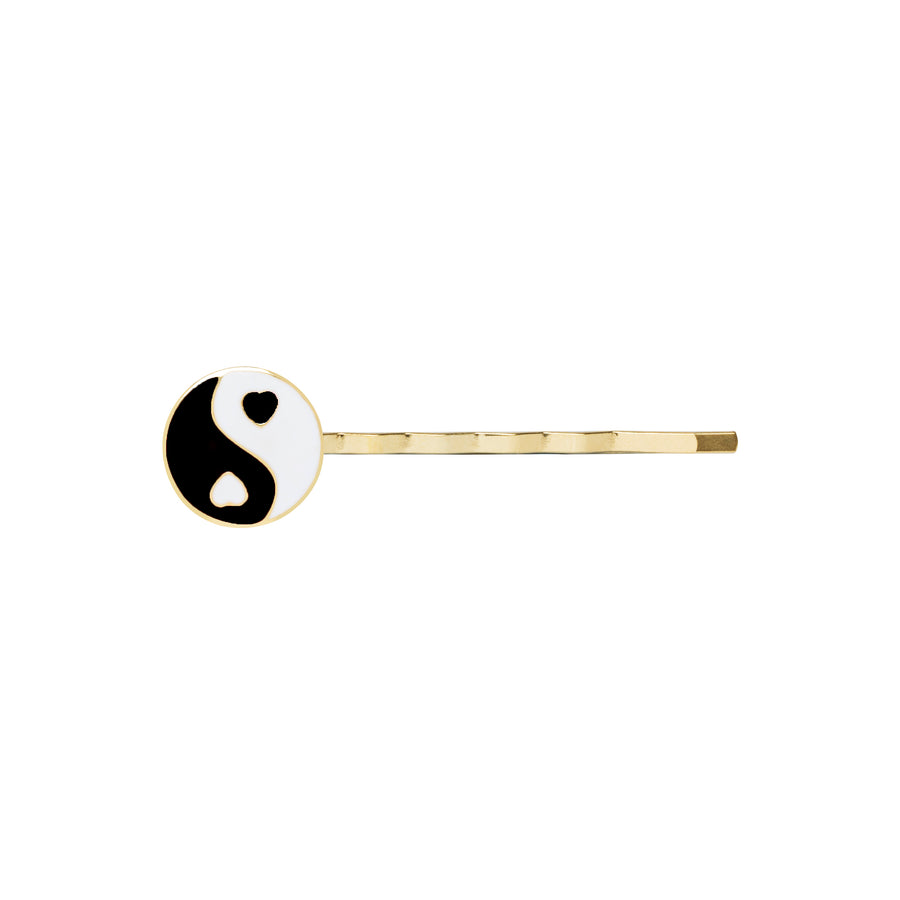 Gold black YinYang hair clip - Wilhelmina Garcia