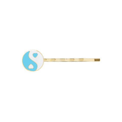 Gold blue YinYang hair clip - Wilhelmina Garcia
