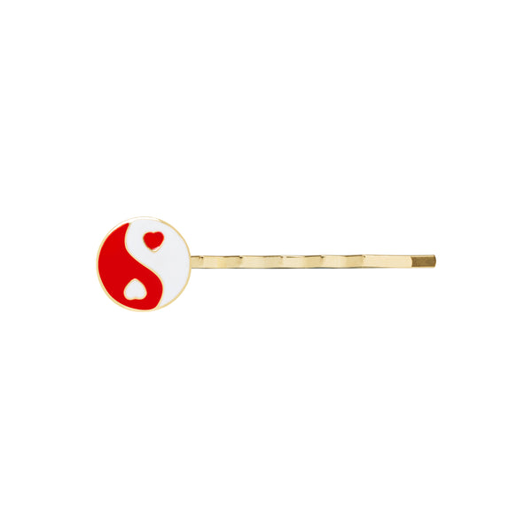 Gold red YinYang hair clip - Wilhelmina Garcia