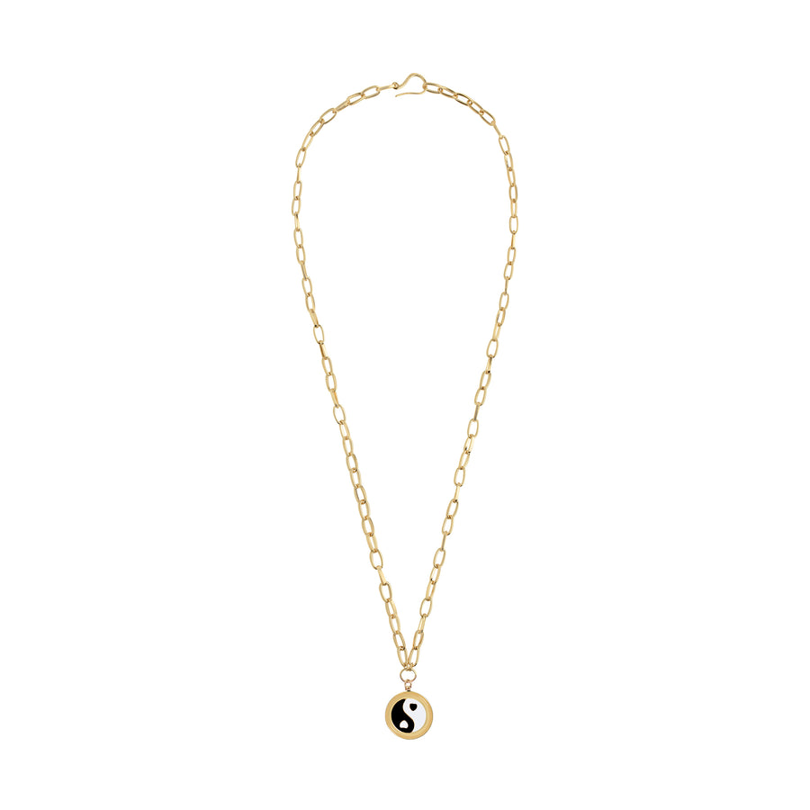 Gold YinYang Black Necklace