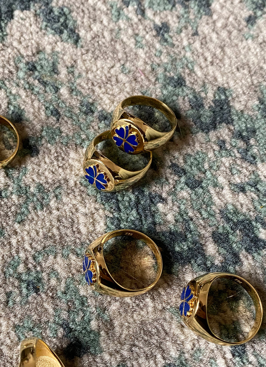 Gold Blue Clover Ring