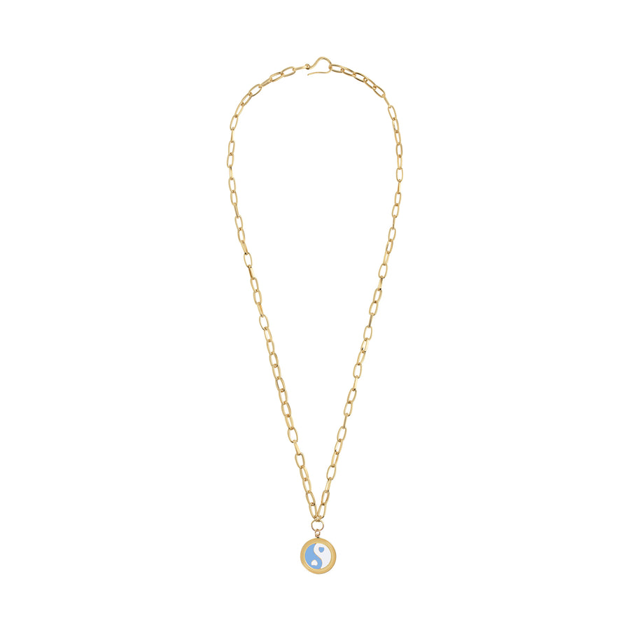 Gold YinYang Blue Necklace