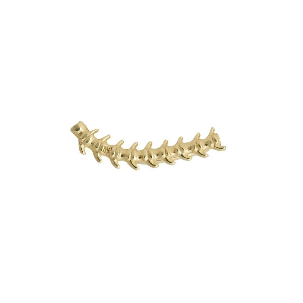 Gold fishbone earring