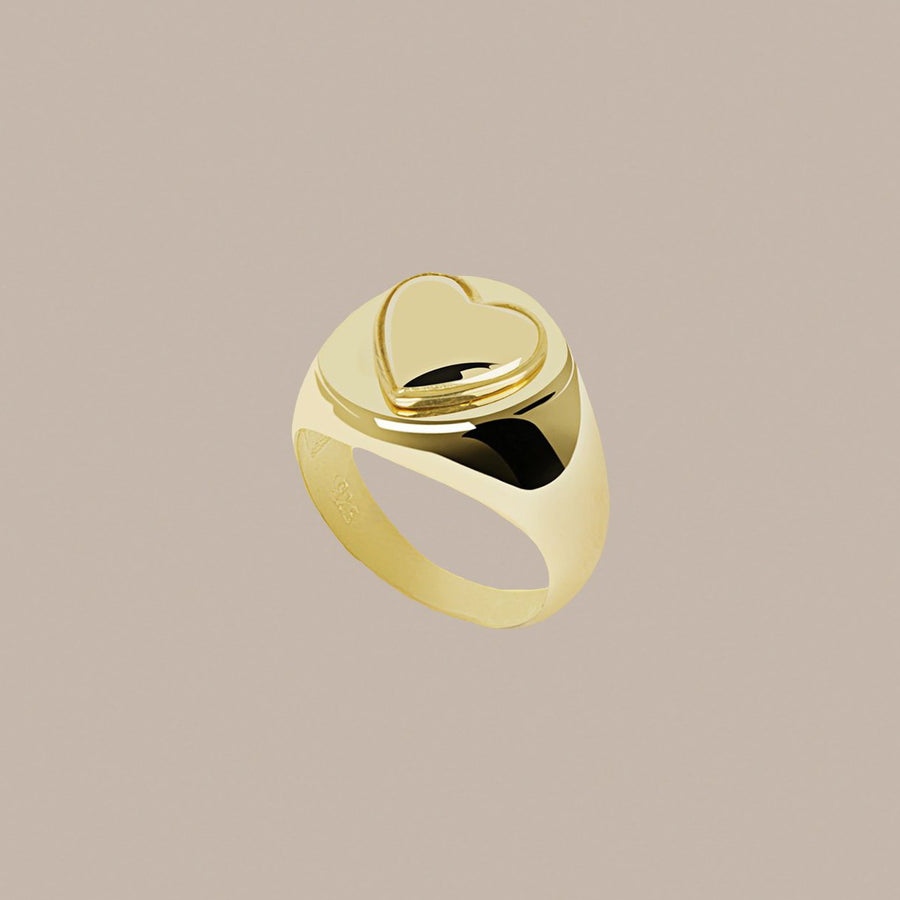 Gold Naked Heart Ring
