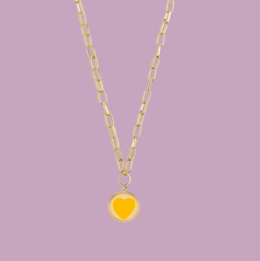 Gold Yellow Heart Necklace