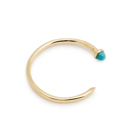 Gold nail cuff - chalcedony stone