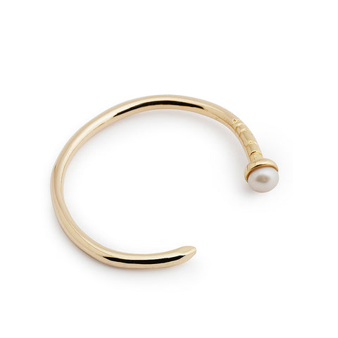 Gold nail cuff - mother pearl