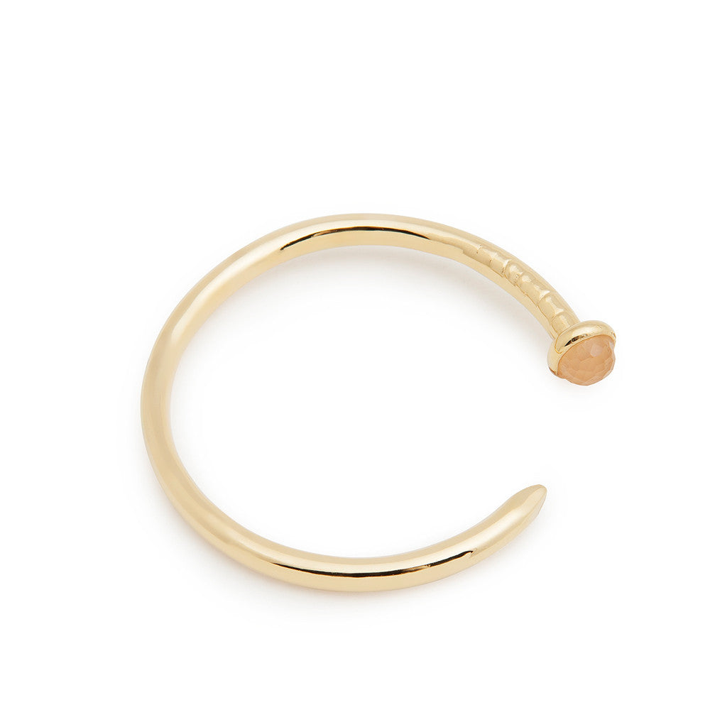 Gold nail cuff - rose quartz stone