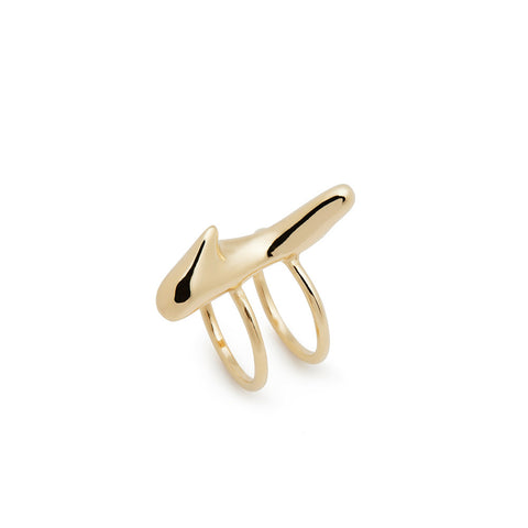 Gold coral double ring - Wilhelmina Garcia