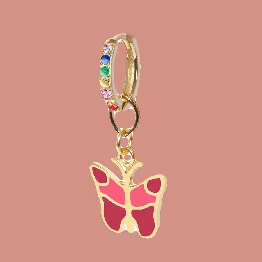 Gold Fire Butterfly Big Earring