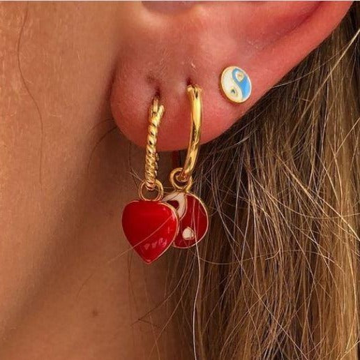 Gold Red Yin Yang Earring