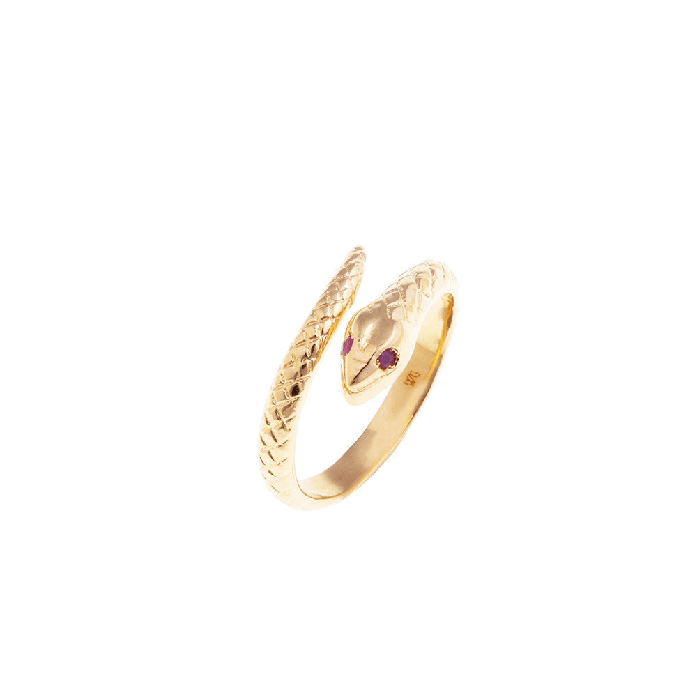 Gold snake ring - ruby stones