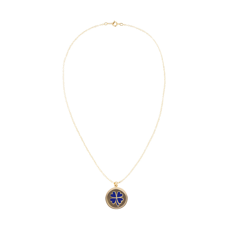 Gold Blue Clover Skinny Chain Necklace