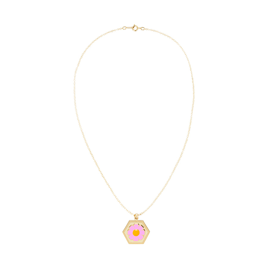 Gold Pink Daisy Skinny Chain Necklace
