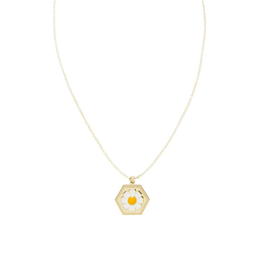 Gold daisy skinny chain necklace