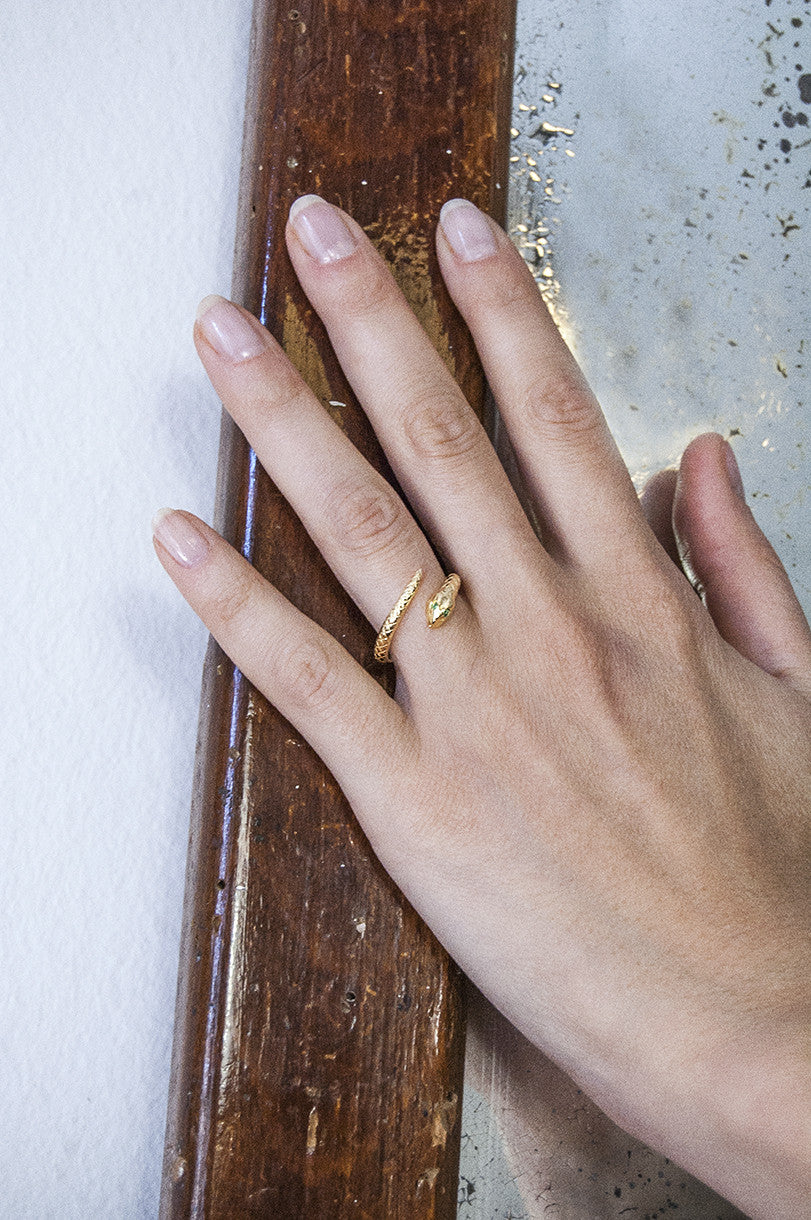 Wilhelmina Garcia: Gold snake ring - ruby stones | Jewelry > Rings,Jewelry -  Hiphunters Shop