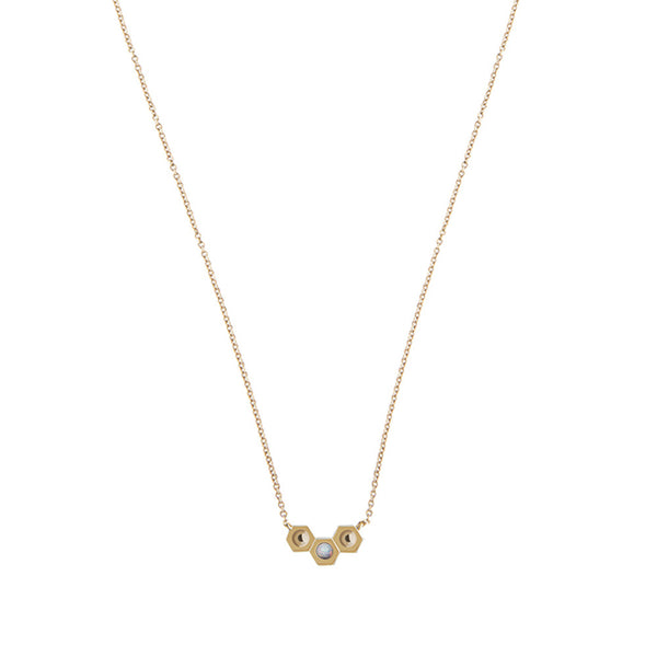 Gold tri nut necklace - opal stone - Wilhelmina Garcia