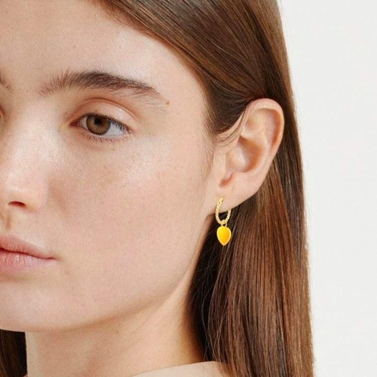 Gold Yellow Heart Rope Earring