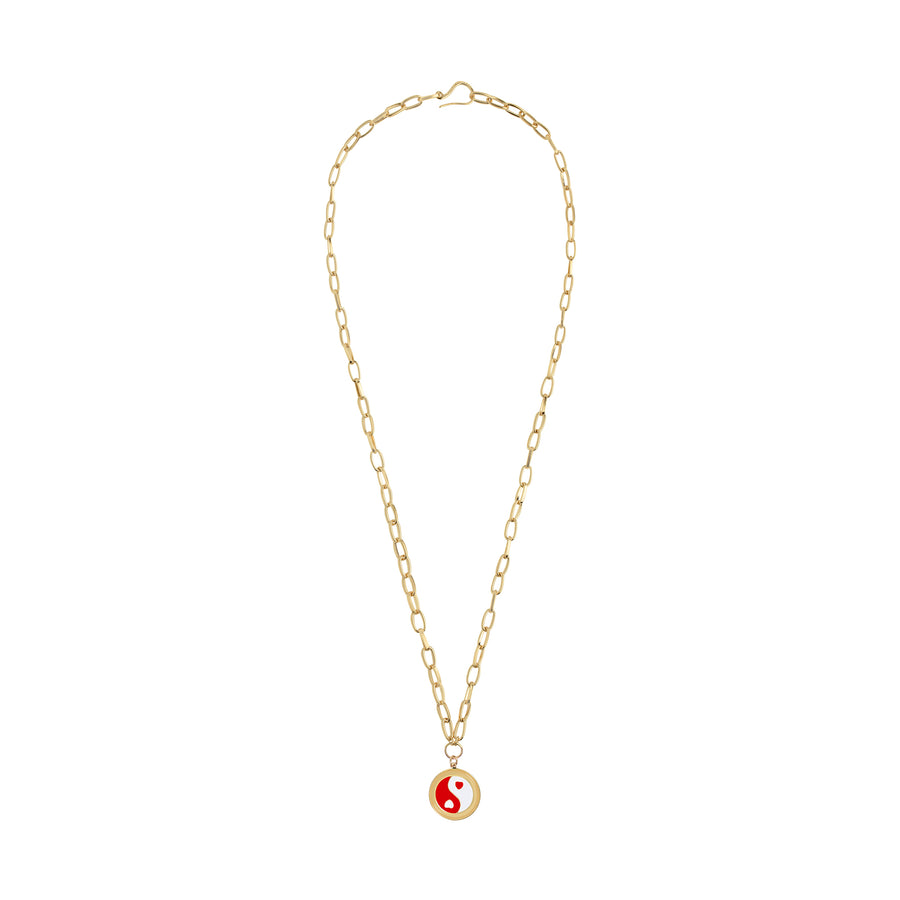 Gold Red Yin Yang Necklace