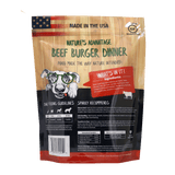 beef burger dinner grain free beef dog food - back of bag