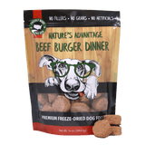 beef burger dinner grain free beef dog food - bag and product