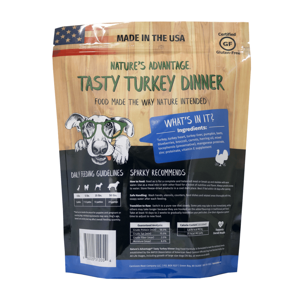 Tasty Turkey Dinner Turkey Dog Food - Back of Bag