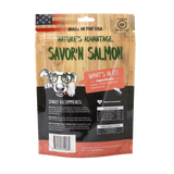 Savor'n Salmon Dog Treats, dog training treats, healthy dog treats - Back of Bag
