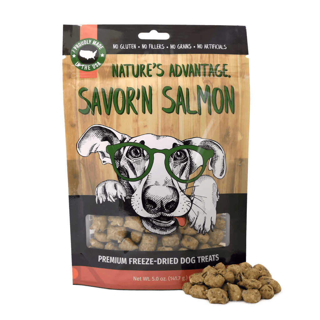 Savor'n Salmon Dog Treats, dog training treats, healthy dog treats- Bag and Product