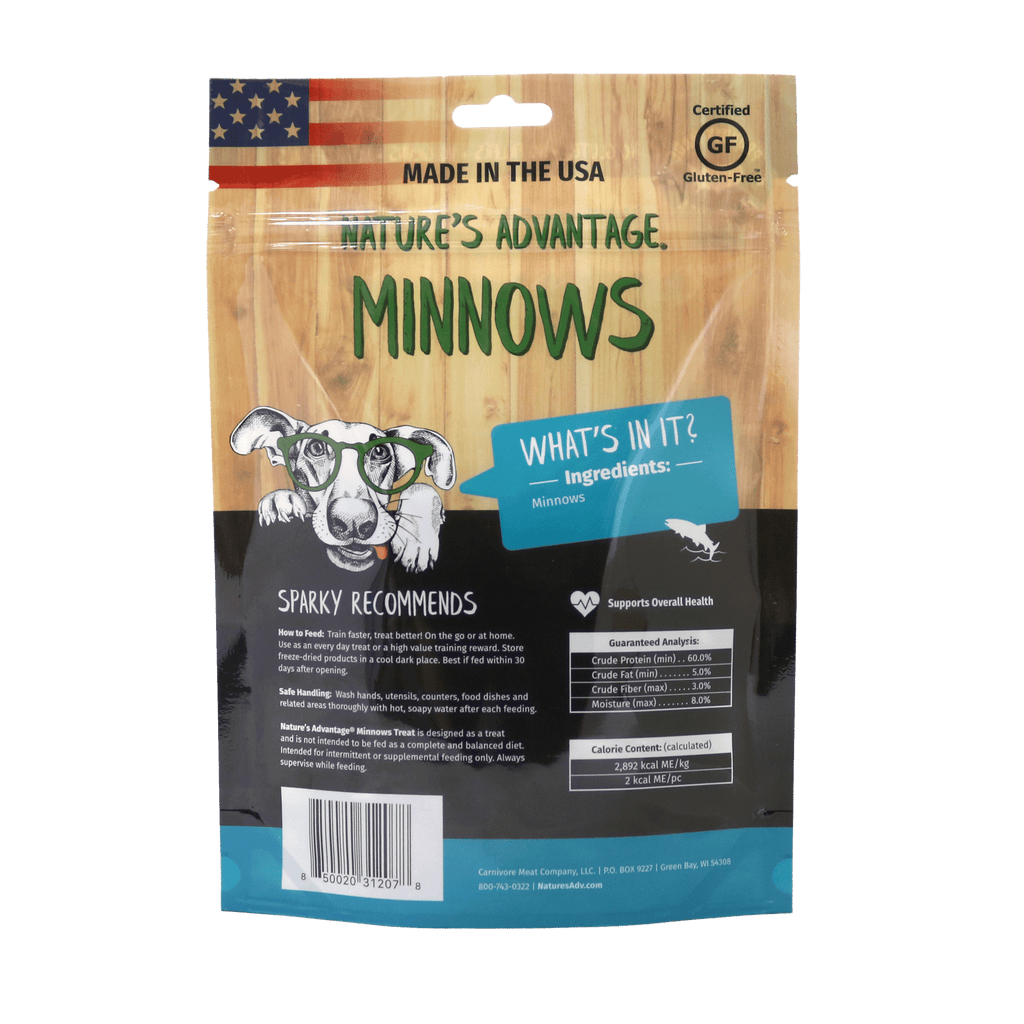 Minnows Grain Free Dog Treats - Back of Bag