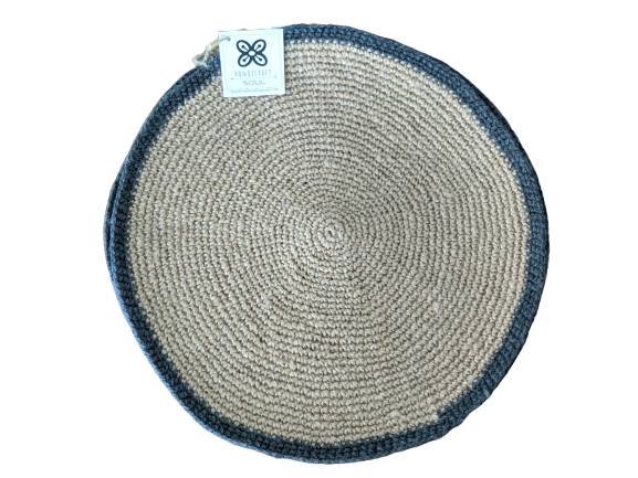 crochet place mat jute grey