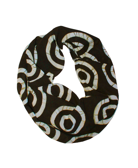 Sand & Black Womens Infinity Scarf - Double Rings Pattern