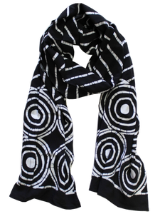 womens scarf black white water
