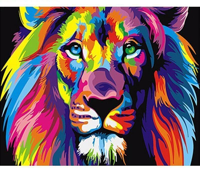 Colorful Lion Abstract Painting with DIY Kit