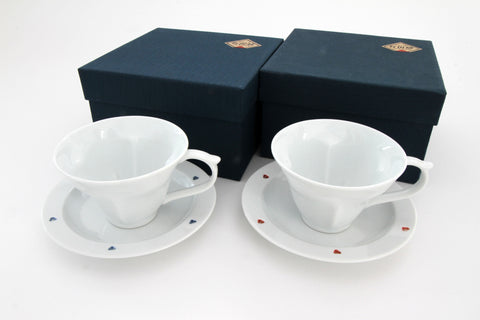 Teacup & Saucer Set | Red & Blue