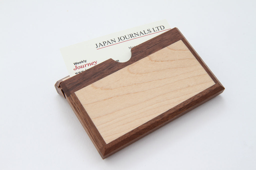 ASAHIKAWA Wooden Business Card Holder Maple & Walnut – Select Japan ...