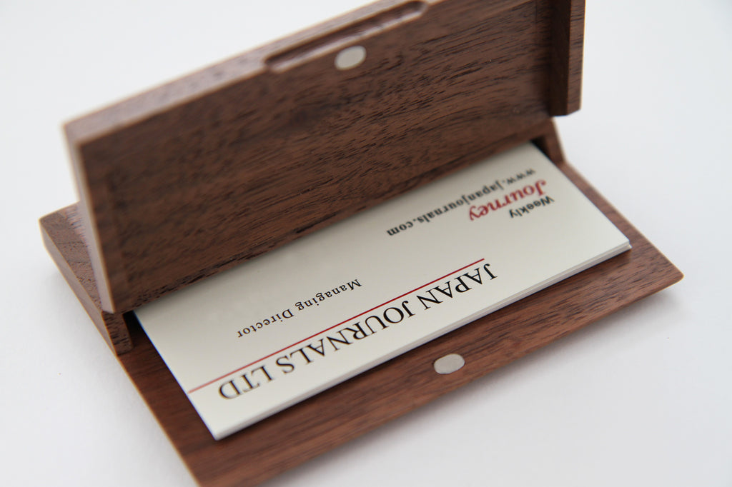 ASAHIKAWA Wooden Business Card Holder Walnut – Select Japan ...