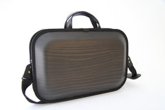 MONACCA Cedar Wooden Bag Black with Shoulder Strap