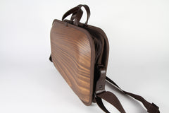 MONACCA Cedar Wooden Bag Brown with Shoulder Strap
