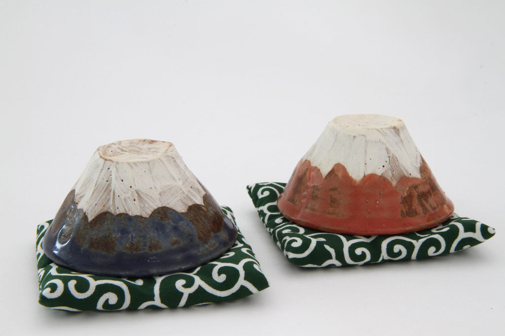 TOKONAME Sake Cup Mt. Fuji Blue & Red