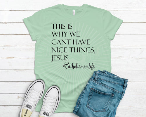 This is why we can't have nice things, Jesus #Catholicmomlife t-shirt mint