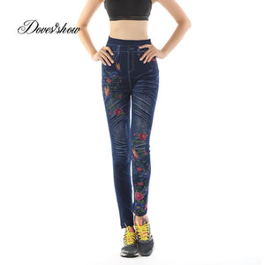Leggings Denim Jeans Leggings Long Pocket Printing